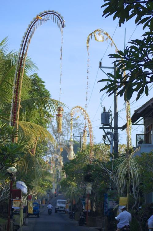 Puluhan penjor menghiasi jalan Nyuh Bulan, Nyuh Kuning, Mas, Ubud, Bali [2013: E O]