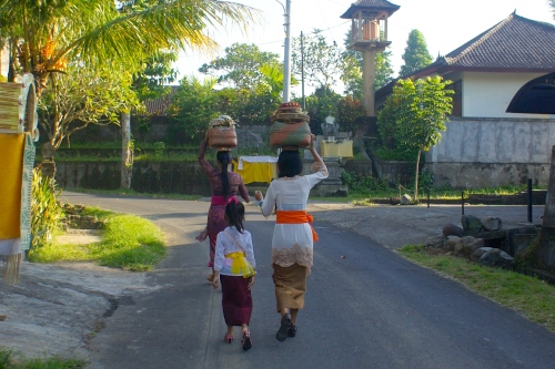 Hindu Balinese women  were marching to the temple  on Galungan day [2013: E O]