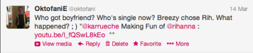 My tweet to Karrueche on 14 March 2013