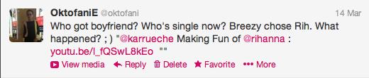 My tweet to Karrueche on 14 March 2013