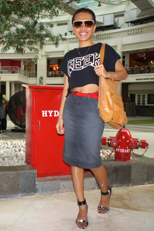 High Waist Pencil Skirt and Crop Top Tee [2013: ER]