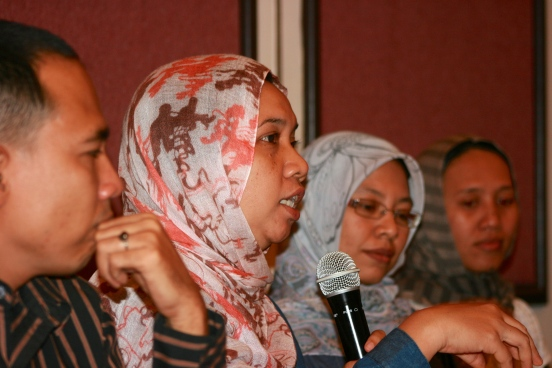 Norma Manalu, an activist from Aceh, speaks at a June 4th gathering about women's rights in Aceh, at Hotel Acacia in Jakarta. Activists say they are not against Sharia Law but question the way it is being implemented.