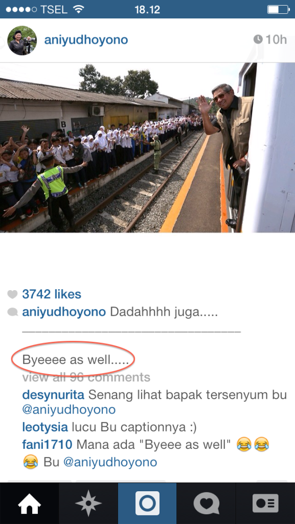 """Byeee as well"" Ibu Ani (team) said [2014:E O]"