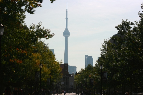 CN Tower from the University of Toronto campus [2014:E O]