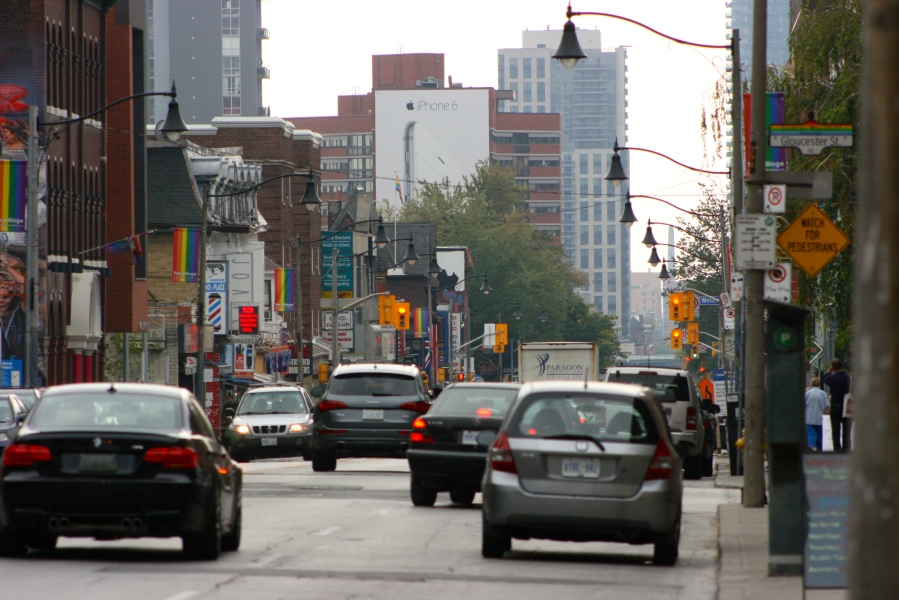 Church and Wellesley Village, the  LGBT-oriented enclave in Toronto [2014: E O]