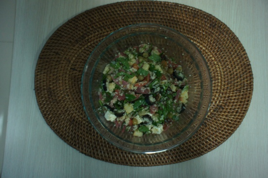 Homemade  veggie couscous salad with bacon [2015:EO]