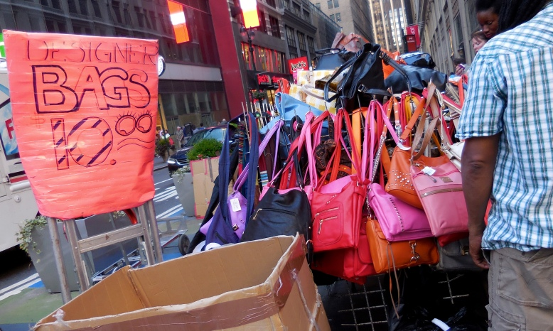 You have no money to purchase designer bag in NYC? Don't be worried baby... NYC also has a fake designer bag for 10 bucks only! [2015: E O]