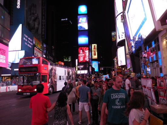 As soon as I arrived in Times Square, I just wanted to leave immediately. It was too crowded [2015: E O]