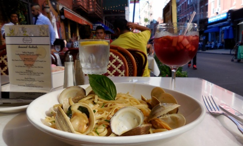 It is a plate of overrated pasta in NYC's Little Italy. Lesson to learn: Do not  eat at the tourist trap; go to the joint where the local people go, better value, better taste.  [2015: E O]