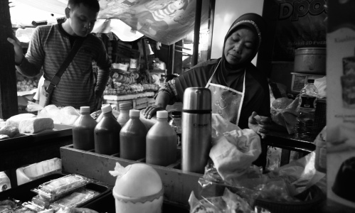 Mrs. Atun has been a traditional herbal drinking beverage jamu seller for decades in Pasar Pocong, Jakarta [2015: EO]